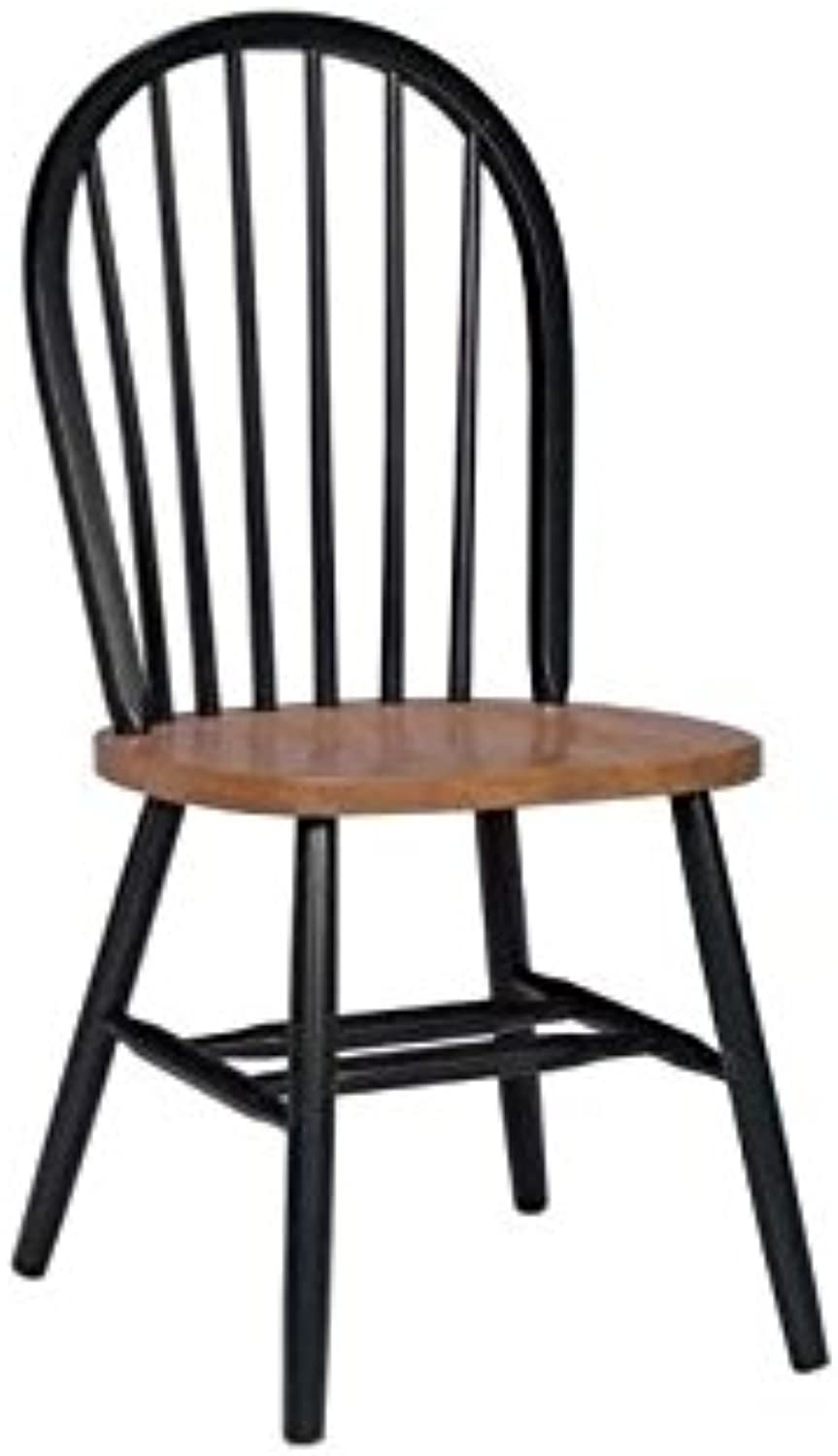 Pemberly Row Windsor Dining Chair in Black and Soft Cherry