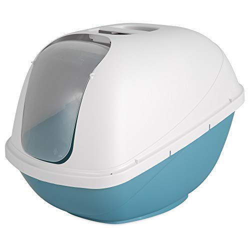Petmate Basic Hooded Cat Litter Pan, Jumbo, White + Blue