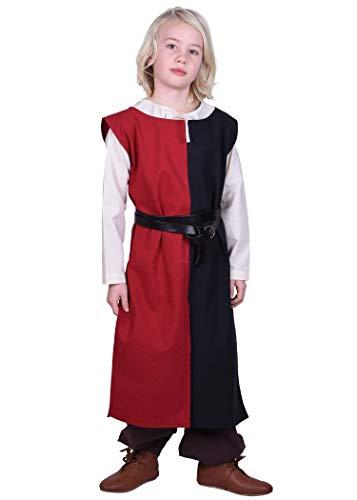 Battle-Merchant Lucas - surcotto Medievale da Bambino - Ideale per Costume da Cavaliere o Giochi di Ruolo dal Vivo (Larp) - Nero/Rosso - 9-11 Anni