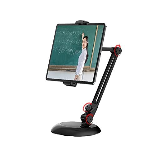 Soporte para Tableta, Puerta de Aluminio de Brazo Largo para iPad, iPhone,Samsung, Kindle 4,7-13', Giratorio de 360°, para Cocina/Oficina/Mesa,Negro