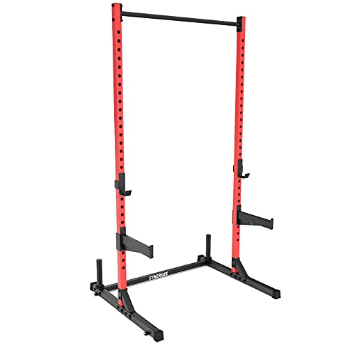 Synergee Squat Stand Rack V1 with Pull Up Bar, J-Cups & Safety Arms. Free Standing Strength & Bodyweight Exercise Stand with 500lb Capacity
