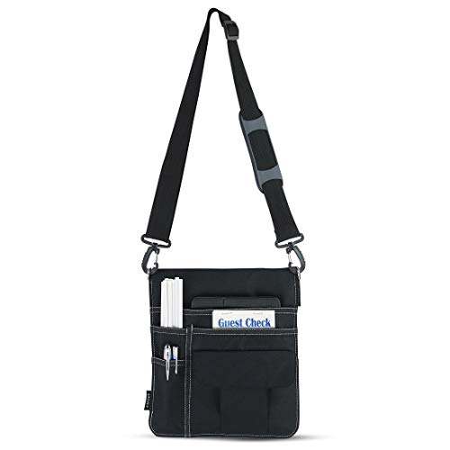e-Holster Restaurant Server Apron for Waiter, Waitress - Utility Belt Fanny Pack Pocket Organizer for Guest Book, Tablet, Money, Pens and Change with Coin Pouch