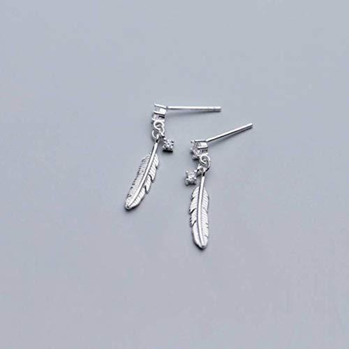 TYERY Pendientes de Plata S925, Pendientes de Diamantes de Personalidad Simple Japonesa Femenina, Joyería de Moda para Orejas de Plumas de Temperamentodiamante blanco, Plata 925