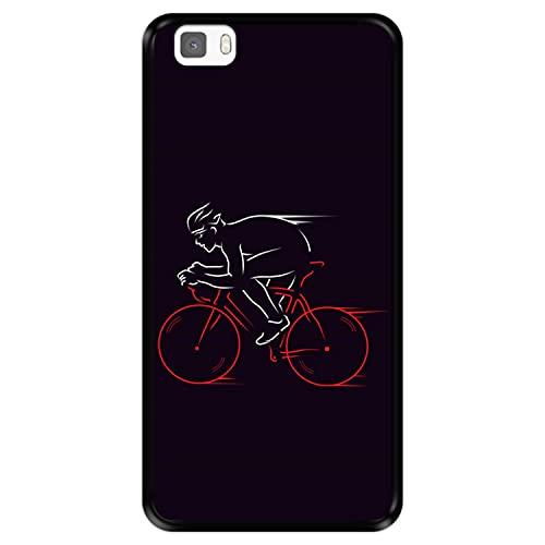 Funda Negra para [ Huawei P8 Lite ] diseño [ Atleta, Ciclista en Bicicleta ] Carcasa Silicona Flexible TPU