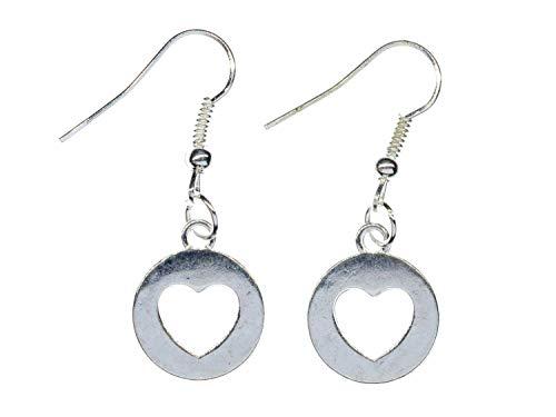 Miniblings Pendientes de corazón hechos a mano I Corazones Amor San Valentín novia plata círculo 15 mm – pendientes pendientes plateados
