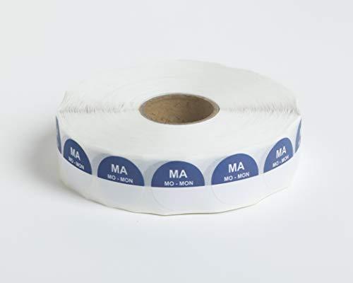 Set van 5 Rollen - 2000 HACCP Labels op 1 rol - 10.000 in totaal - maandag - blauw - ronde dagstickers 19 mm, schrijfbaar. Plakt op elke ondergrond, voor etenswaren koelkast en vriezer, houdbaarheidsdatum,THT