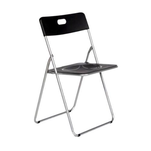 Easy negra Silla plegable metal asiento PP,para cocina, comedor, balcón, terraza interior, habitaci