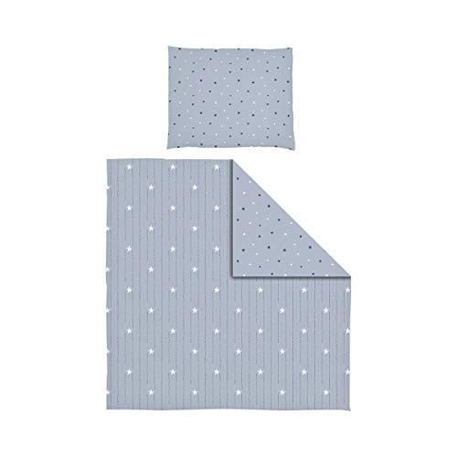 BORNINO HOME Parure de lit réversible 35x40 / 80x80 cm, stars & dots bleu