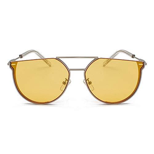 Raxinbang Gafas de Sol Nueva Personalidad Semicírculo Gafas De Sol Mujer Moda Metal Retro Gafas Hombres UV400 Protección Marco De Plata (Color : Yellow)