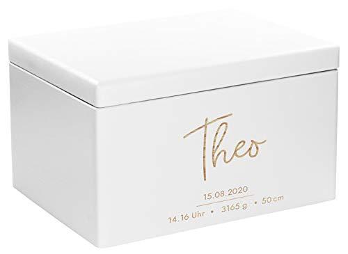 LAUBLUST Erinnerungsbox Baby Personalisiert - Geschenk zur Geburt | 40x30x24cm, Weiß, FSC® | Serie: Niers - Frontmotiv