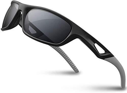 SKILEC Polarisierte Sportbrille Sonnenbrille Herren und Damen TR90 Fahrradbrille mit UV400 Schutz - Radbrille für Autofahren Running Skifahren Fischen Radfahren Wandern Golf (Schwarz Grau)