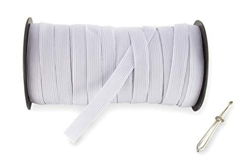 1/2' 40-Yards White Baraded Elastic Cord/Elastic Band/Elastic Rope/White Heavy Stretch Knit Elastic Spool(White)/Bedspread Band