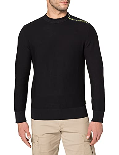 ARMANI EXCHANGE Black Pullover Sweater Maglione, Nero, M Uomo