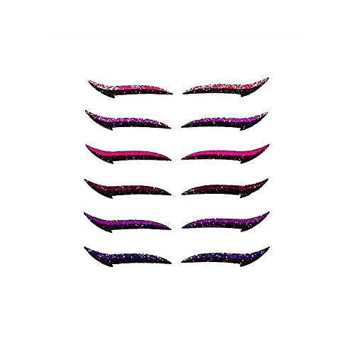 6 Paare wasserdichte Eyeliner-Aufkleber Wiederverwendbar haltbares Glitter Pearlescent Schlupflid-Tape Streifen zum Aufkleber Augen Schlupflider Stripes Make-up Natürliche Aufkleber Make-up Tools