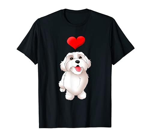 Malteser Cartoon Hund und Herz niedliches Welpe Motiv T-Shirt