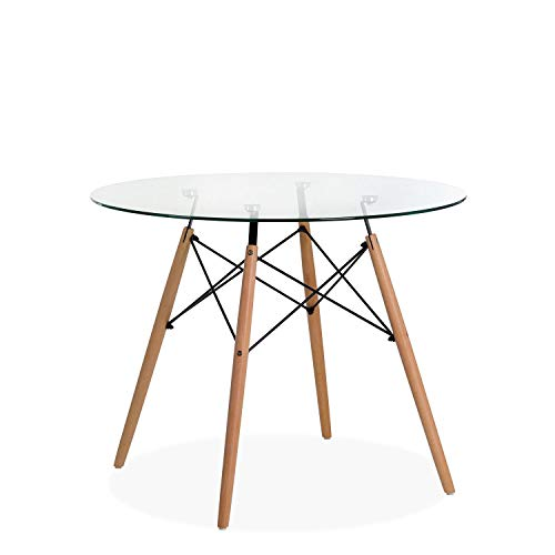 Noorsk Design Mesa Redonda de Comedor o Cocina Tower Cristal 80