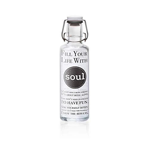 soulbottles 0,6l • Fill Your Life with Soul • Trinkflasche aus Glas • plastikfrei, nachhaltig vegan …