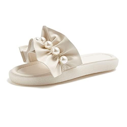 Zzple Pelzhausschuhe Frauen Hausschuhe für Frauen Sommer Perle Spitze Soft-Sohlen Hausschuhe für Damen Äußere Kleidung Mode Lässige Sandalen (Color : Apricot, Size : 4.5)