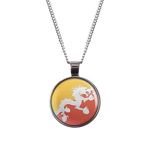 Mylery Hals-Kette mit Motiv Bhutan Thimphu Flagge Silber 28mm