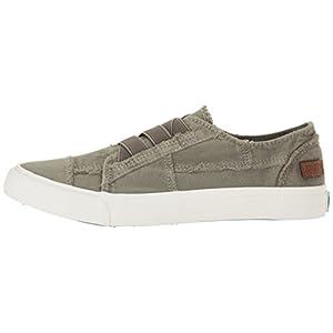 Blowfish Malibu Women's Marley Fashion Sneaker, Steel Grey Color Washed Canvas, 9 Medium US