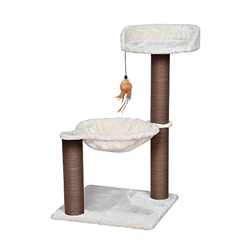 Catry, scratching post hammock bed with natural sisal scratching posts and teasing feather for kittens (version 2)