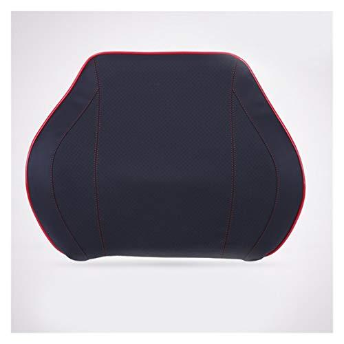 ZHANGJINYAN Reposacabezas del Coche Almohada de Cuello de Almohada PU Auto Almohada Espacio Memoria Cuello reposacabezas de Viaje Oficina de Viaje Auto Inter Accesorios (Color : Black Red Cushion)