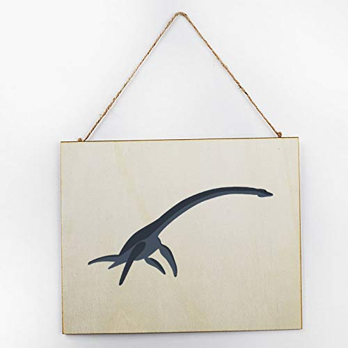 Vintage Large Wooden Hand Painted Sign Plaque Gift Kitchen Living Room Decor Handmade by Vintage Product Designer Realistic Loch Ness Monster Pattern