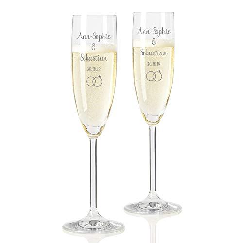 Geschenke.de Leonardo Sektgläser mit Gravur Namen und Ringen - Geschenk zur Hochzeit für das Brautpaar, 2er-Set