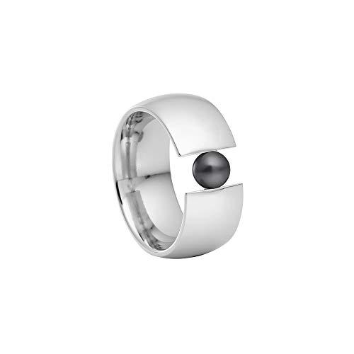 Heideman Ring Damen aus Edelstahl Silber farbend poliert Damenring für Frauen mit Swarovski Perle grau rund 6mm