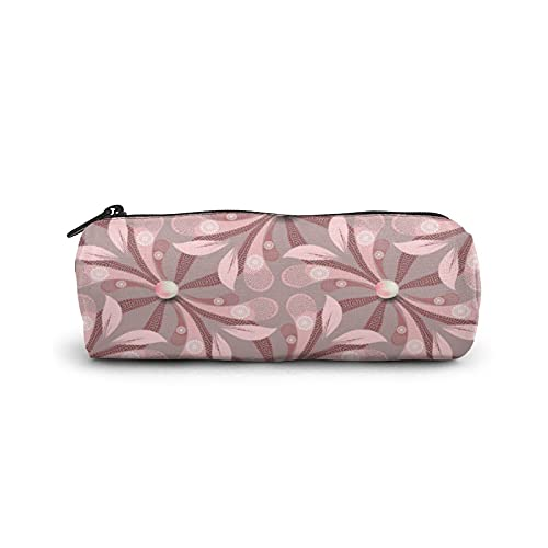 Pencil Bag Pen Case,Cylinder Cosmetic Bag,Multi-Functional Stationery Pouch Zipper Bag for School & Office Supplies,Elegance Floral Greek Seamless Jewelry Pin