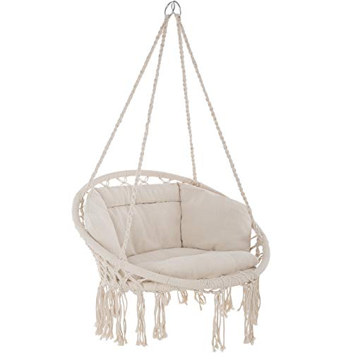 TecTake 800708 Hanging Chair, Hammock with Seat Cover, Robust Construction, Indoor Outdoor (Beige | no. 403205)