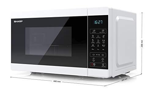SHARP YC-MG02EW Mikrowelle mit Grillfunktion/Auftauprogramm/ 800 Watt/20 Liter/ 11 Leistungsstufen/ECO/Timer-Funktion/Kindersicherung/Inkl. Drehteller, displaysteuerung