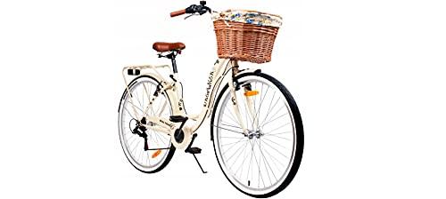 BDW 28 Zoll Damen Mädchen City Trekking Fahrrad Rad Bike Damenrad Cityfahrrad Damenfahrrad Cityrad Trekkingfahrrad Trekkingrad 6 Shimano Gang, Korb KOSTELNOS    Beige   