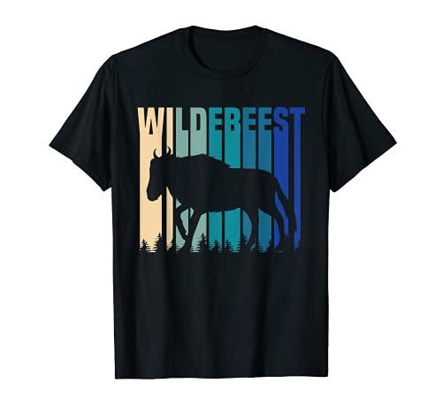 Wildebeest Gnu Antelopeトロフィー スポーツハンティングギフト レトロ ブルー Tシャツ