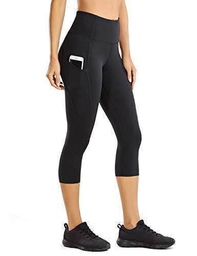 CRZ YOGA Mujer Cintura Alta Leggings Deportivas Fitness Running Pantalones Capri con Bolsillos -48cm Negro -R432 46