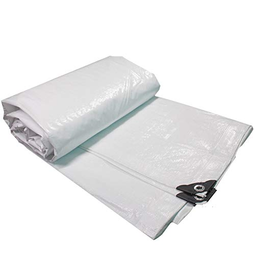 ZHANGGUOHUA Addensare Telone Impermeabile Heavy Rainproof Cloth PE Plastica Outdoor Baldacchino Roof Gazebo Giardinaggio Parking Shed Shade Canvas (Colore : Bianca, Dimensioni : 8x12m)