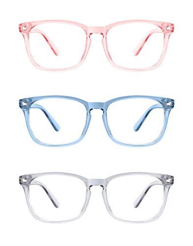 Tijn Brille mit Wayfarer-Silhouette, unisex, nicht verschreibungspflichtig, klare Gläser, Nerd, Rahmen, Brille Gr. L, F