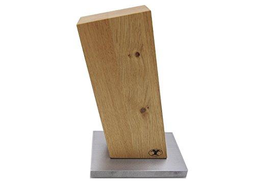 BLOCKWERK Messerblock unbestückt magnetisch ohne Messer 13 Grad für 4 Messer Eiche auf Stahlsockel