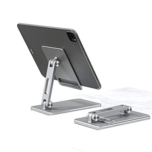 LAHappy Soporte para Tablet Plegable, Soporte para Teléfono Móvil, con Base Antideslizante para iPad, iPhone,Samsung, Kindle 4-12.9',Plata