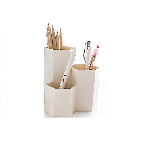 Scatola portaoggetti da scrivania portapenne in plastica (Beige)
