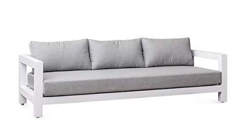 Meubletmoi - Sofá de jardín de 3 plazas de aluminio blanco y cojines blandos de tela gris con diseño cúbico – Mykonos