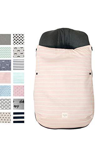 BCN ® SC05 Fußsack für Cybex Aton Q und Q Cloud aus Baumwolle, verschiedene Muster Eis cremefarben