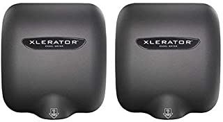 Excel Dryer XLERATOR XL-GR 1.1N High Speed Commercial Hand Dryer, Graphite Textured Cover Cover, Automatic Sensor, Surface Mounted, Noise Reduction Nozzle, LEED Credits 12.2 Amps 110/120V (2 Pack)