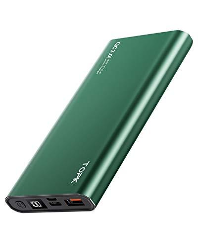 TOPK Batería Externa 10000mAh PD Carga Rápida Power Bank con Tipo C Entrada y Salida Cargador Movil Portátil, Pantalla LED Digital, para iPhone Samsung Xiaomi Huawei y más Smartphone, Verde