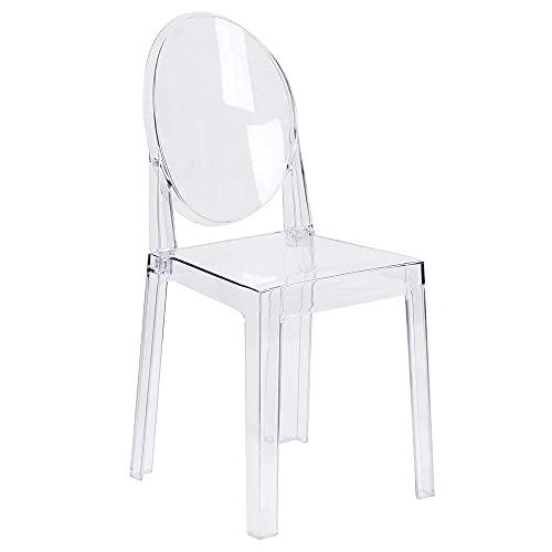 Klarer Esszimmerstuhl Transparente Make-up-Seitenstühle Kunststoff-Einzelstuhl Küchenstuhl zerlegt und Nicht stapelbar, 1-TLG