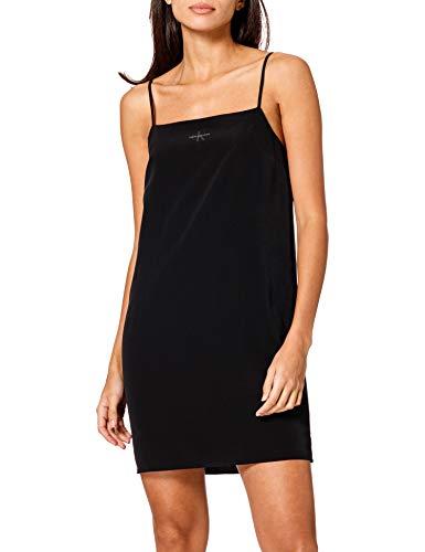 Calvin Klein Jeans Damen Monogram CAMI TOP Slip Dress Kleid, Ck Schwarz, Medium