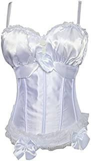 SYMG White Palace Lace Corset, Ladies' Slim Corset with Chest Cup, Sexy Sculpting Girdle, Wedding Dress Bottom Seal, Body Shape, Vest shapewear women (Size : XXL)