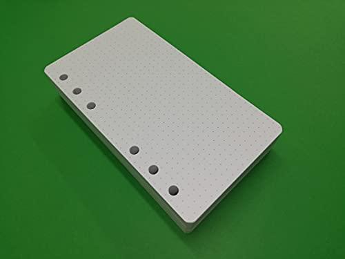 Recambio de 200 hojas blancas de papel grueso de 120 g/m² – 95 x 171 mm – Puntos dotted bullet journal – para agenda organizadora con 6 anillas, formato A6, personal compacto y con puntos