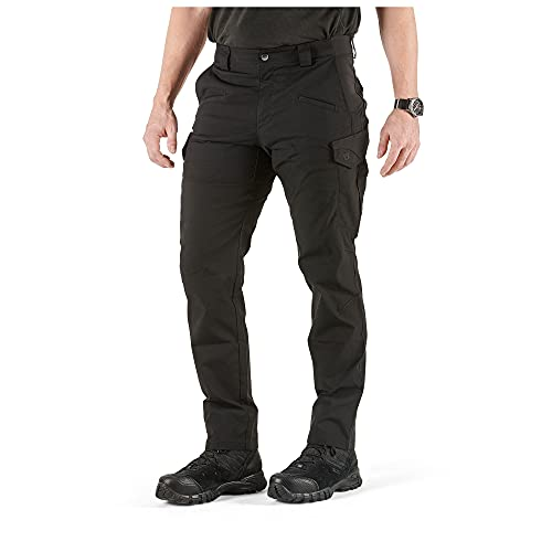 5.11 Tactical Men's Icon Cargo Pant, Flax-Tac Stretch, Guessted, Teflon Finish, Style 74521, Black, 34x32