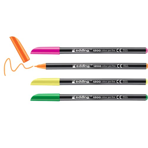 Edding 1200 rotulador de color de trazo fino - negro, rojo, azul, verde - 4 rotuladores - punta redonda de 1 mm - marcador dibujar y escribir